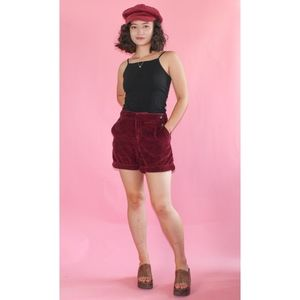 (605) Anthropologie Red Corduroy High Rise Shorts